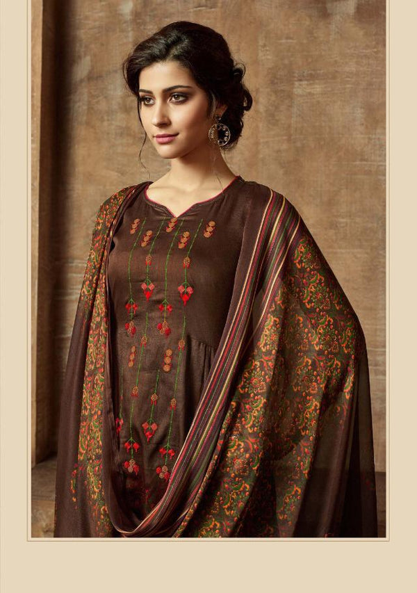 Dark Brown Pashmina Kurtha Piece