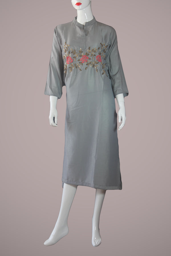 Ash Muslin embroidered Kurtha Suruwal