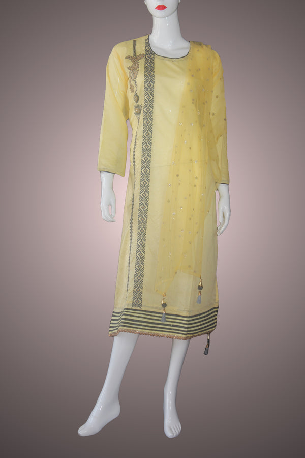 Peach Chanderi Silk Kurtha Suruwal