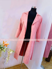 Pink Long Suede Coat