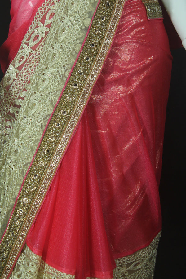 Pink Georgette and Net Saree