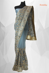 Ash colored net embroidered saree