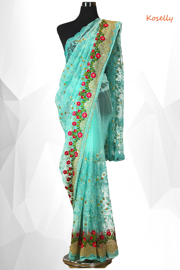 Sky Blue net embroidered saree