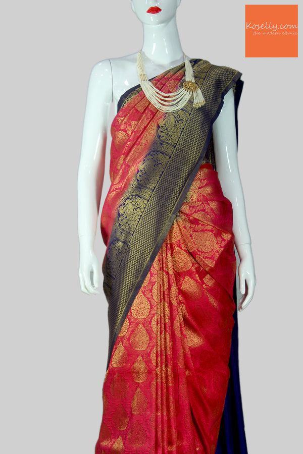 Pink Kanjeevaram Silk Saree with navy blue border