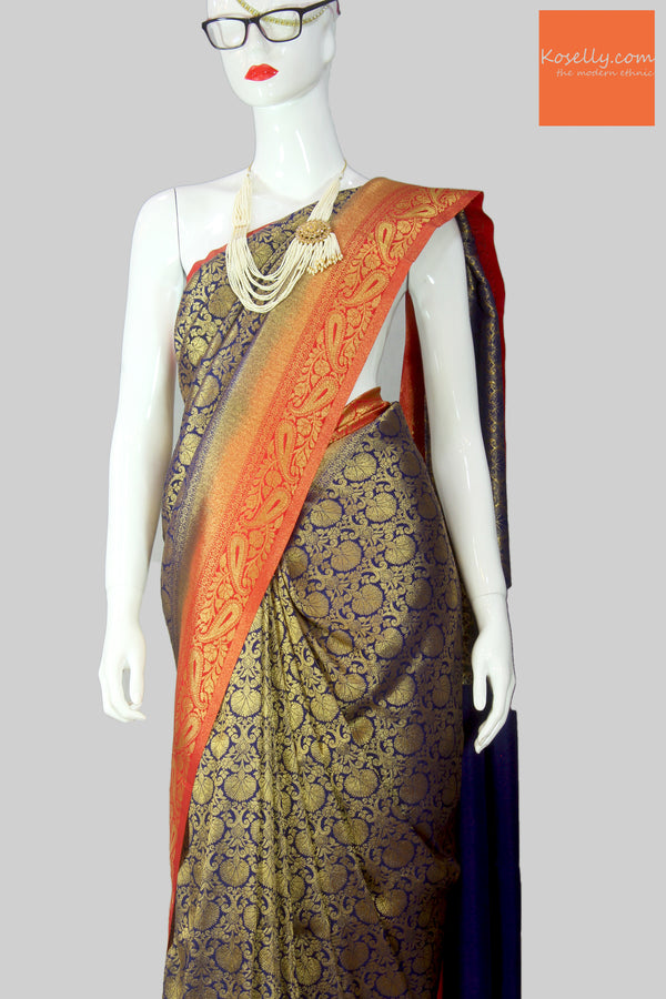 Navy Blue Kanjeevaram Silk Saree with red border