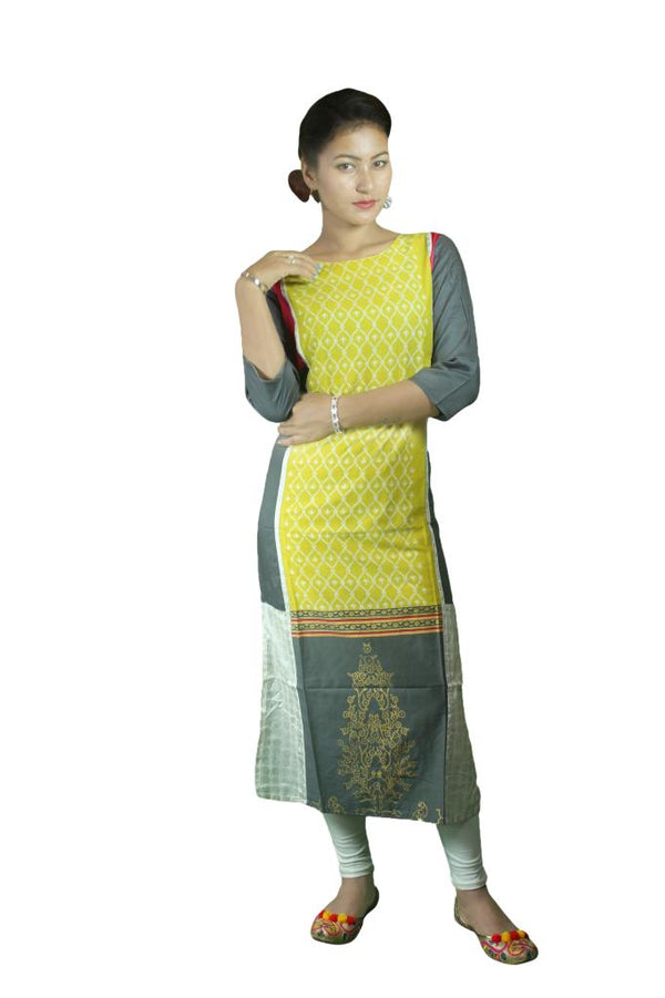 Jenifry Lemon Yellow Kurthi Top