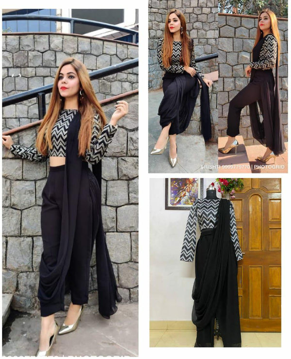 Black Printed Stylish Indo-Western Dress