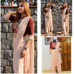 Pink and Maroon Printed Stylish Indo-Western Dress