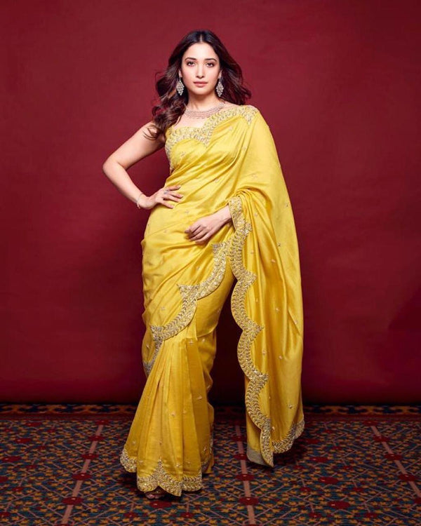 Yellow Paper Silk Designer Embroidered Saree