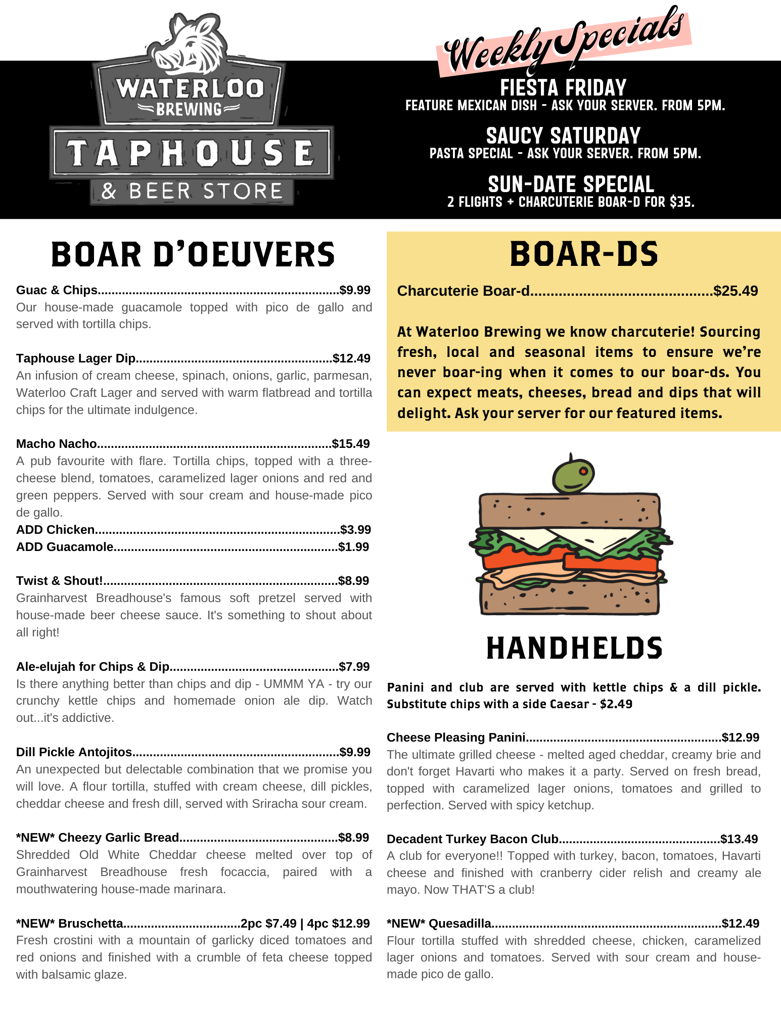 Waterloo Brewing Taphouse Menu
