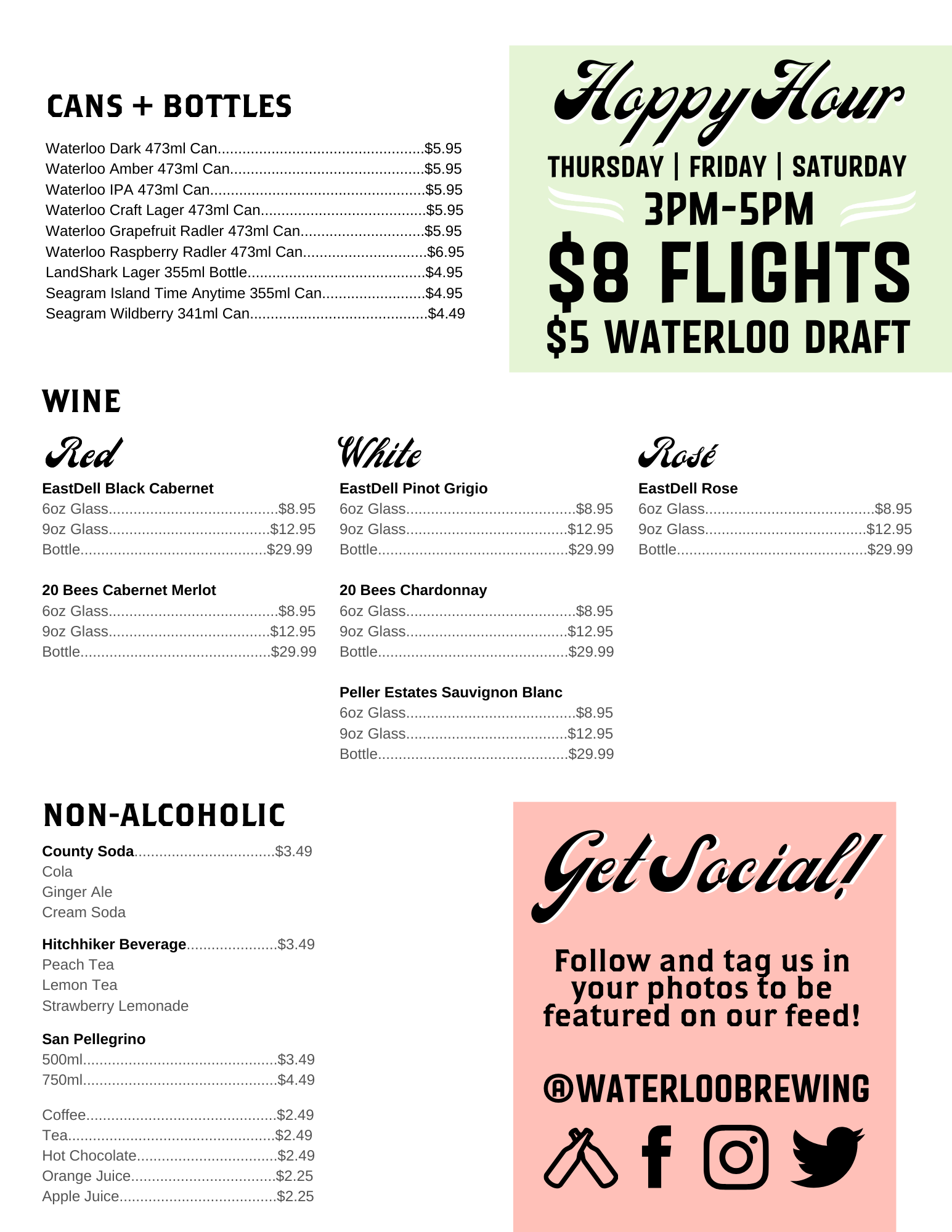 Waterloo Brewing Taphouse Beer Menu