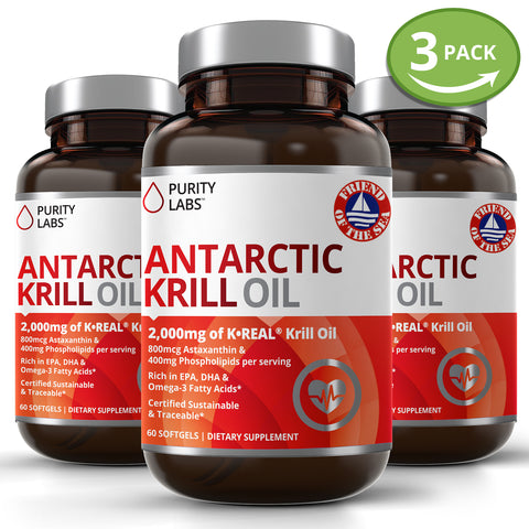 Krill Oil Supplement, Krill Oil Softgels, Pure Antarctic Krill Oil