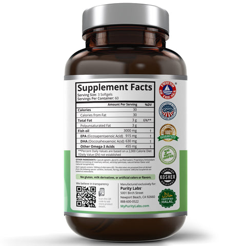 Omega 3 Fish Oil Softgels, Pure Omega 3, Pure Omega 3 Fish Oil