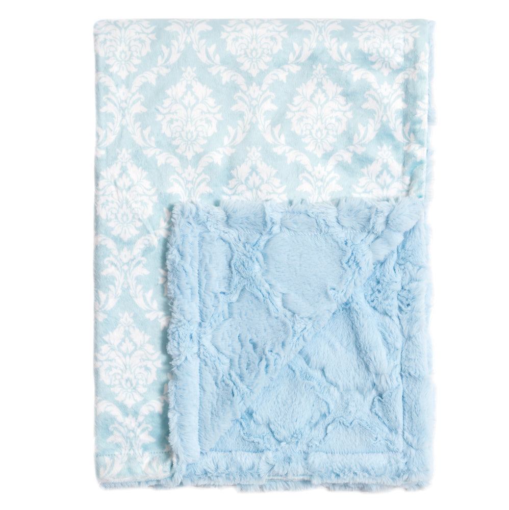 Crystal Blue Damask Blankets