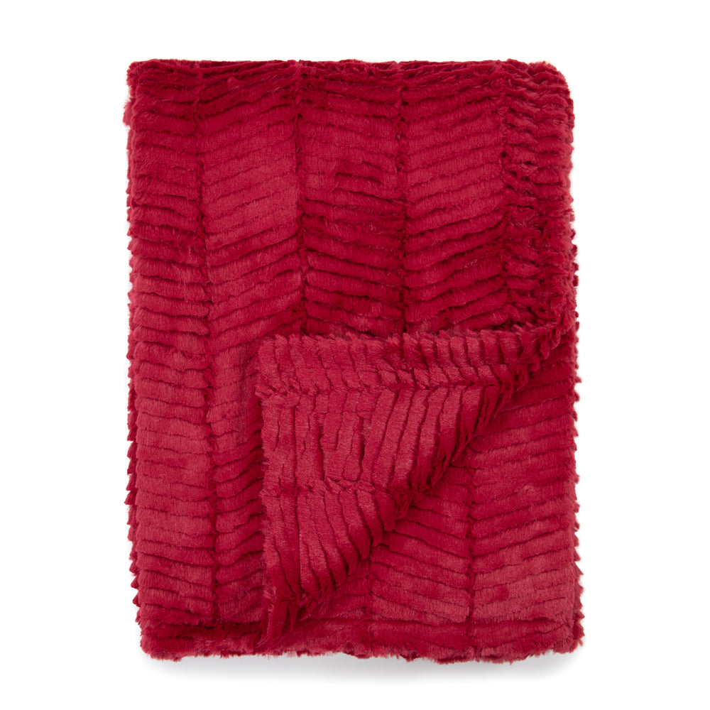 Deep Red Herringbone Blankets