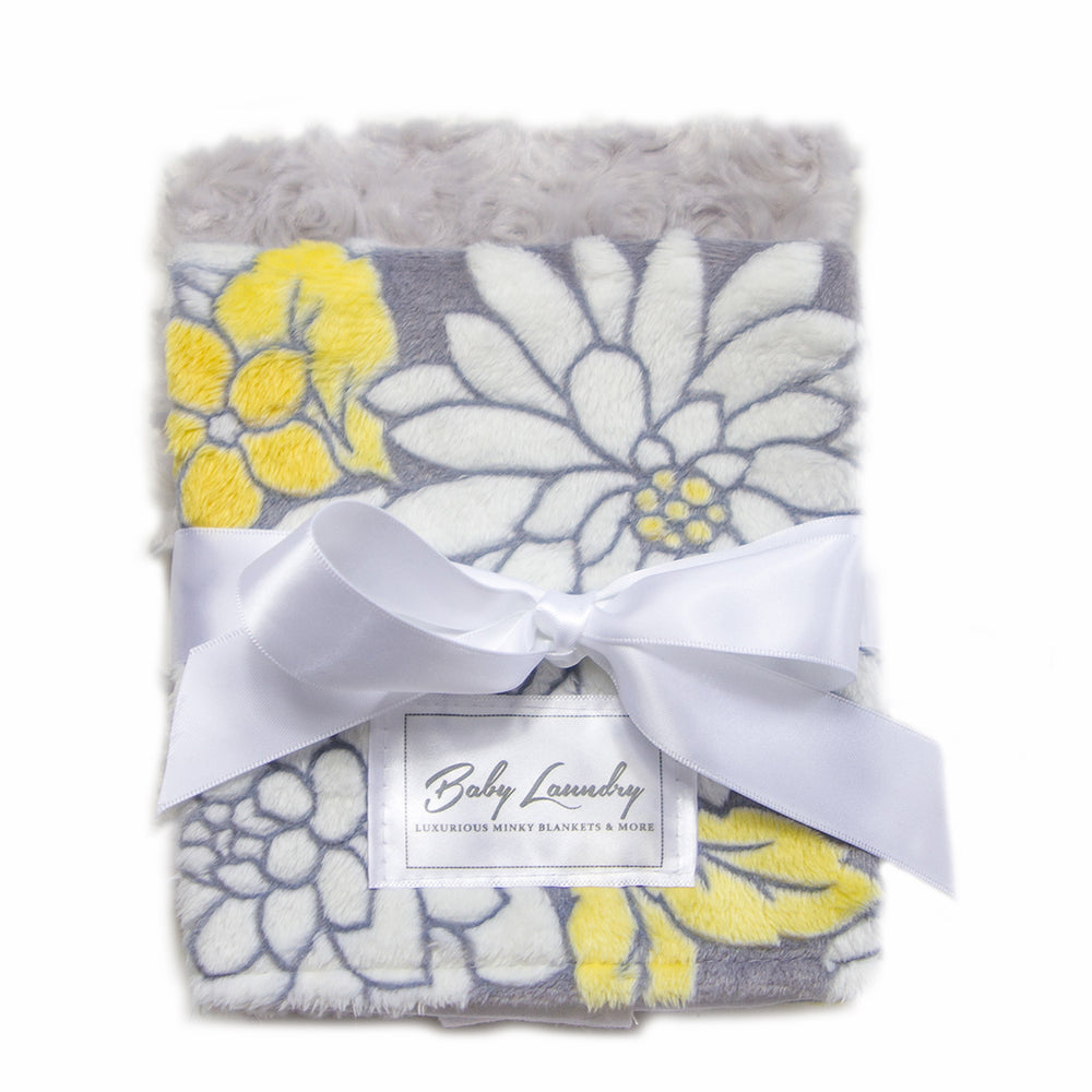 Gray Yellow Floral Burpie Set