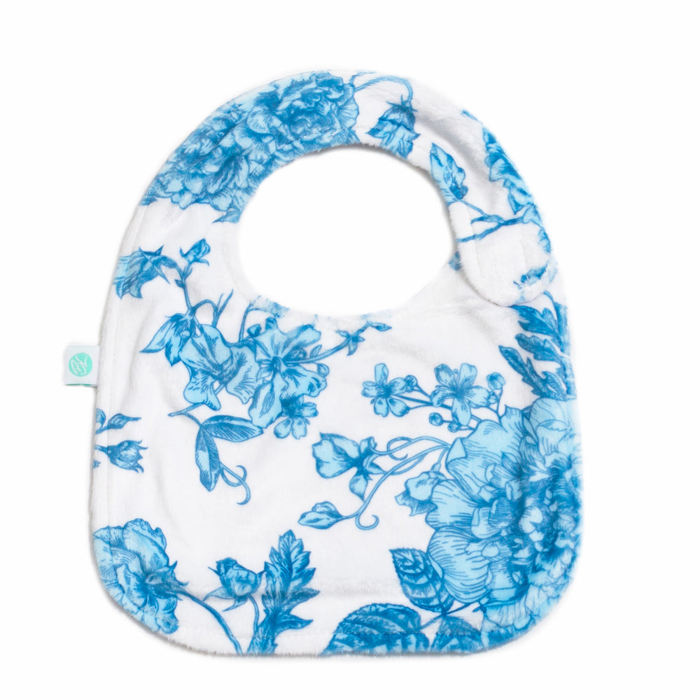 French Blue Floral Reversible Bib