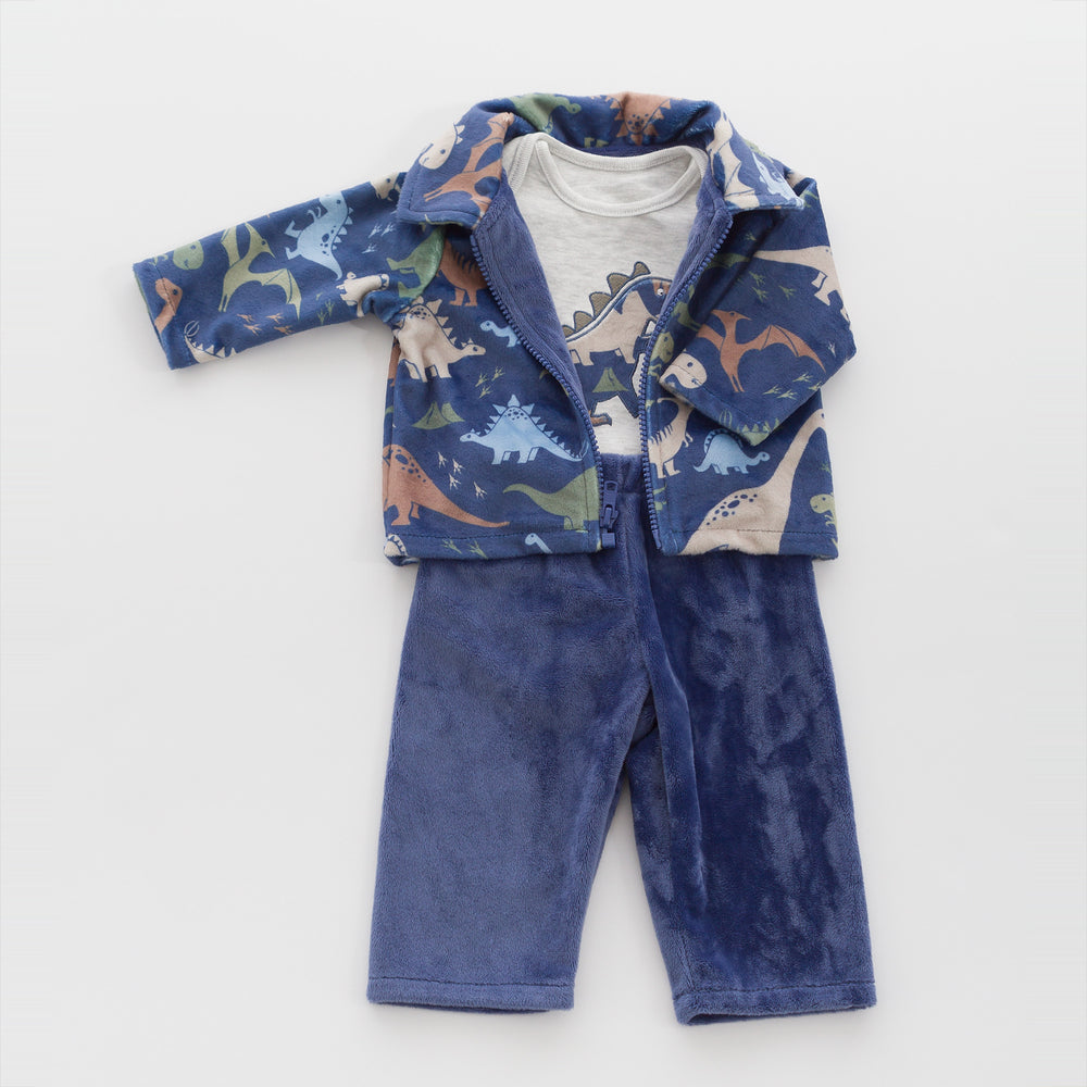 Steel Blue Jacket, Pants and Bodysuit made from our soft, luxurious minky and high quality cotton fabric.