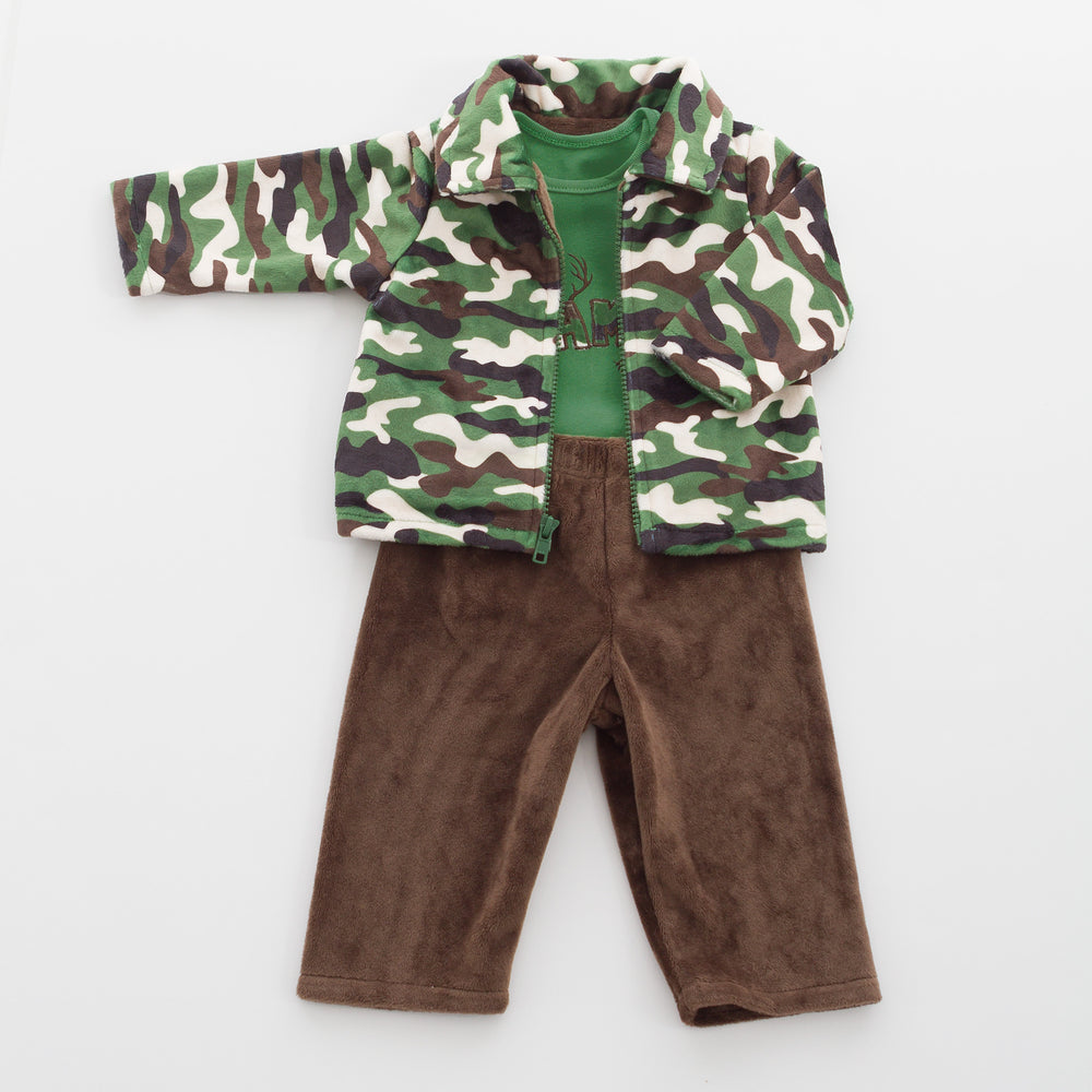Chocolate Pants, Bodysuit onesie and Jacket made from our soft, luxurious minky fabric.
