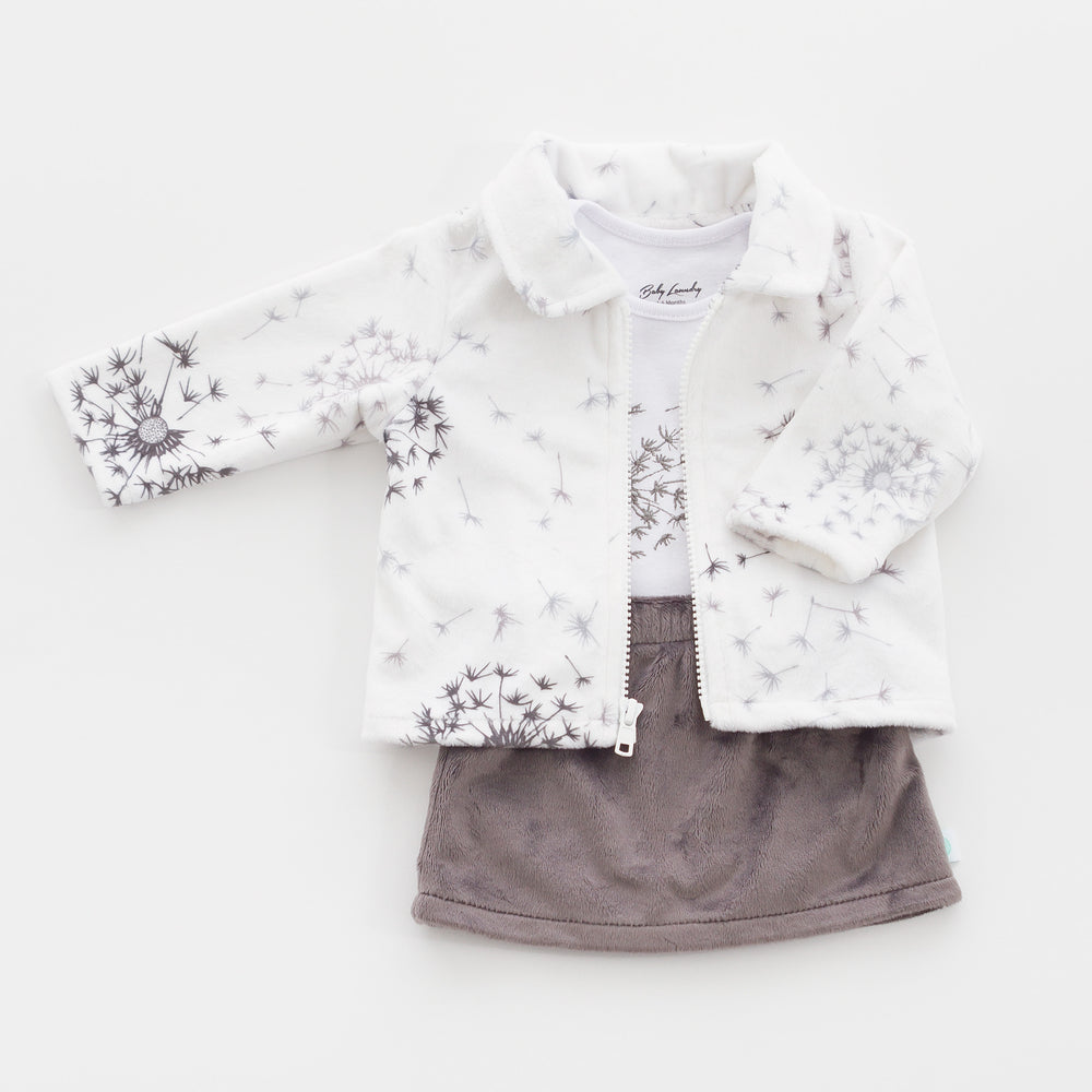 Charcoal Skirt, Bodysuit onesie and Jacket made from our soft, luxurious minky fabric.