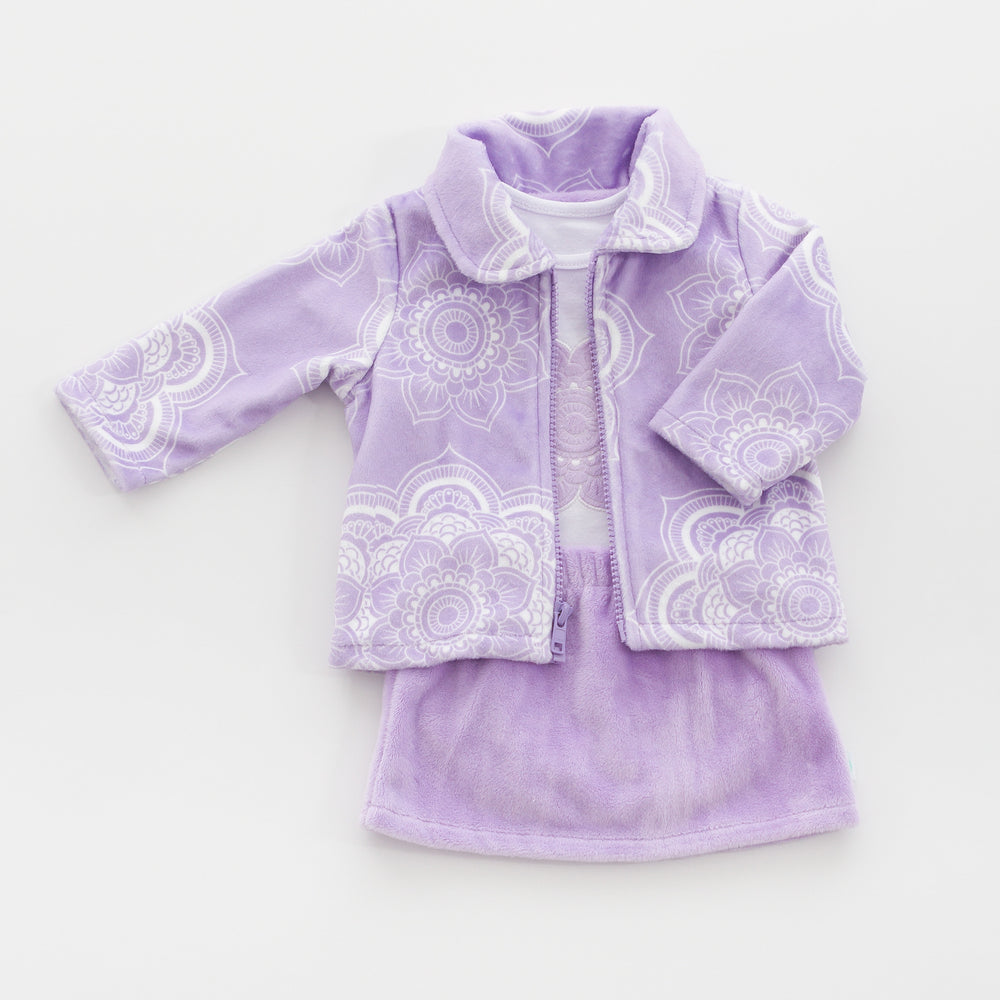 Orchid Jacket, Pants and Bodysuit made from our soft, luxurious minky and high quality cotton fabric.