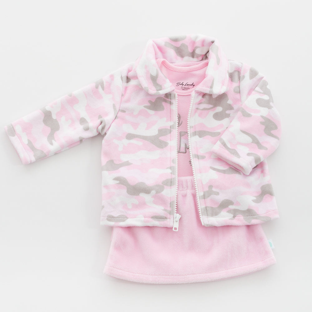 Pink Camo Jacket, Pants and Bodysuit made from our soft, luxurious minky and high quality cotton fabric.