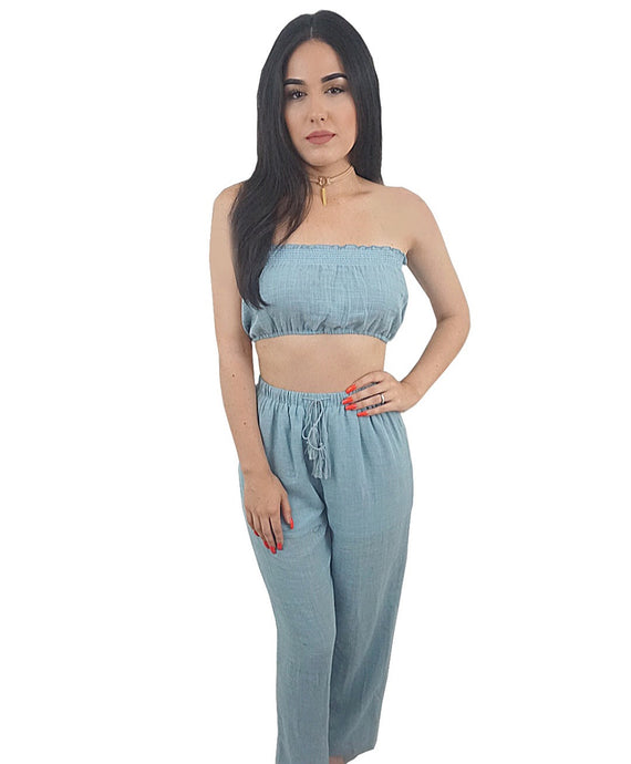Roxy Blue Strapless Pants Set - Desired Clothing