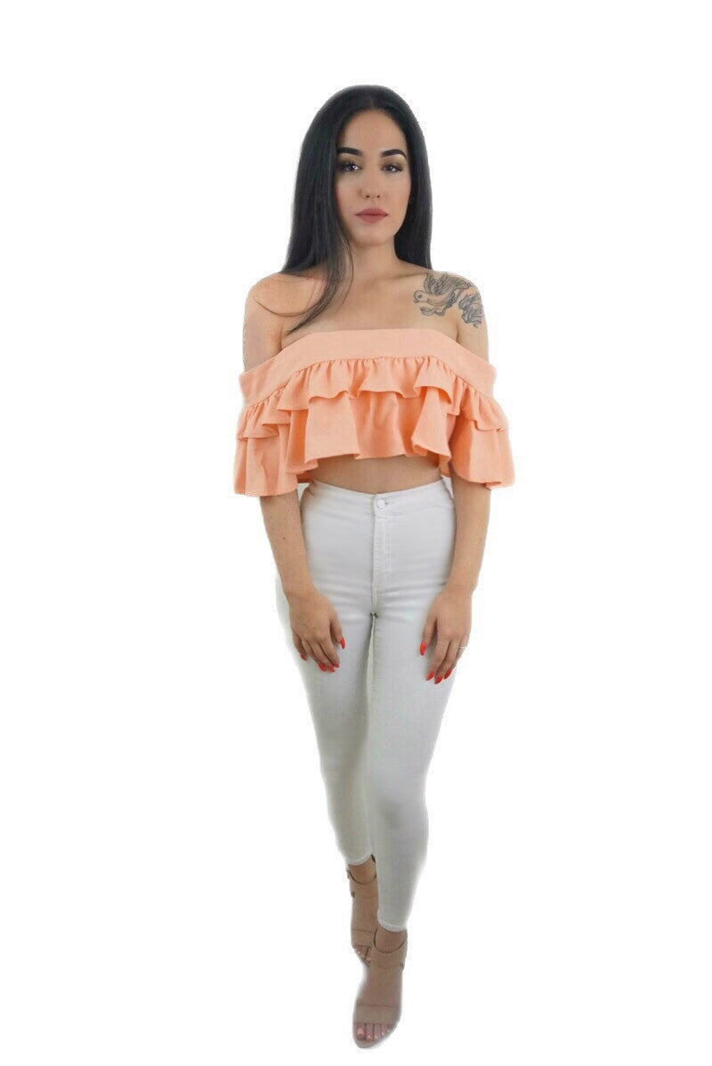 Alexa Ruffle Crop Top - Desired Clothing