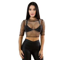 Leah Rhinestone Crop Top - Desired Clothing