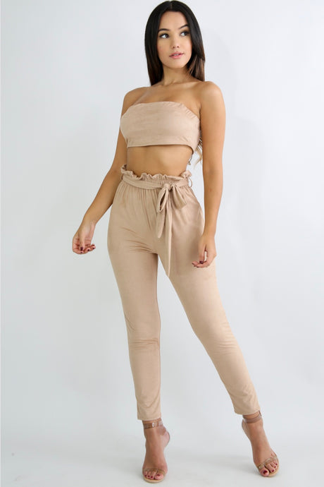 Tina High Waisted Suede Pants Set - Desired Clothing