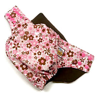 Flowers Pink & Brown PUL Cloth Diaper