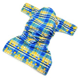 Plaid Blue & Yellow PUL Cloth Diaper