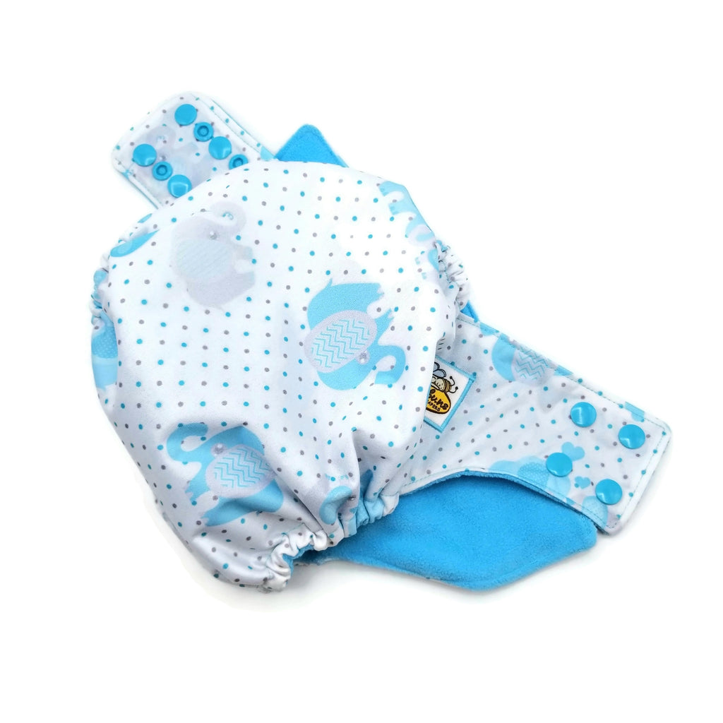 Blue Elephants PUL Cloth Diaper