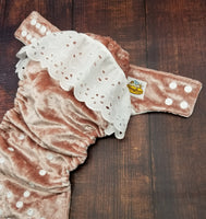 Dusty Pink Velvet Eyelet Ruffle Cloth Diaper