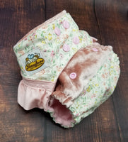 Floral Ruffle Cotton with Velvet Cloth Diaper
