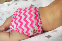 Florescent Pink Chevron PUL Cloth Diaper