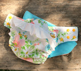 White Floral Ruffle Cotton Cloth Diaper