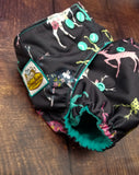 Stag Floral Jade PUL Cloth Diaper
