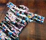 Bird Stripe Floral PUL Cloth Diaper