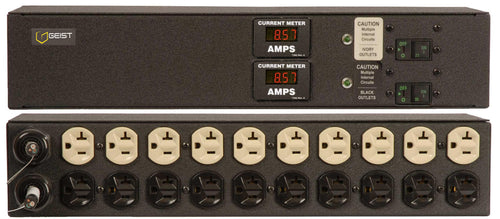 Geist PDU - Basic - 2JRA200-102D20DST5 - Metered, Standard, 20A, 120V, Horizontal, (20) NEMA 5-20R, breakered, 10 ft power cords with 5-20P, Current - Local  Digital RMS Current Meter +/- 2% Accuracy with Full Scale 60Hz sine wave input - Part #15860
