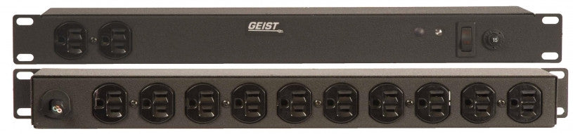Geist PDU - Basic Non-Surge PDU-15A, 120V, Horizontal, (12) NEMA 5-15R, power switch, breakered, 15 ft power cord with 5-15P,