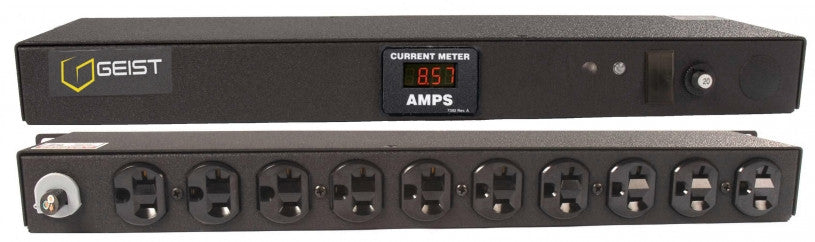 Geist PDU - Basic Non-Surge PDU-20A, 120V, Horizontal, (10) NEMA 5-20R, breakered, 10 ft power cord with 5-20P, Current - Local  Digital RMS Current Meter +/- 2% Accuracy with Full Scale 60Hz sine wave input.
