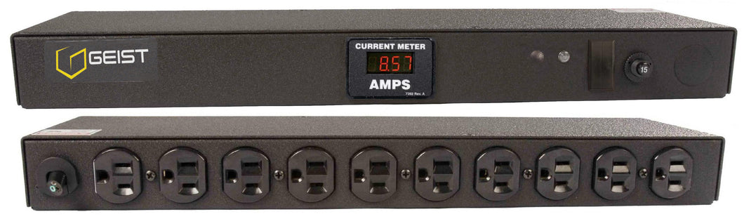 Geist PDU - Basic Non-Surge PDU-15A, 120V, Horizontal, (10) NEMA 5-15R, breakered, 10 ft power cord with 5-15P, Current - Local   Digital RMS Current Meter +/- 2% Accuracy with Full Scale 60Hz sine wave input.