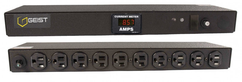 Geist PDU - Basic Non-Surge PDU-20A, 120V, Horizontal, (10) NEMA 5-15R, breakered, 15 ft power cord with 5-20P, Current - Local  Digital RMS Current Meter +/- 2% Accuracy with Full Scale 60Hz sine wave input