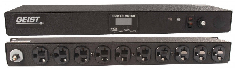 Geist PDU - Basic Non-Surge PDU-20A, 120V, Horizontal, (10) NEMA 5-20R, power switch, breakered, 10 ft power cord with 5-20P, Power - Local (A, V, W, PF) Digital RMS Scrolling Power Meter +/- 2% Accuracy with Full Scale 60Hz sine wave input.