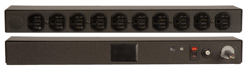 Geist PDU - Basic Non-Surge PDU-20A, 120V, Horizontal, (10) NEMA 5-15R, power switch, breakered, 10 ft power cord with 5-20P,