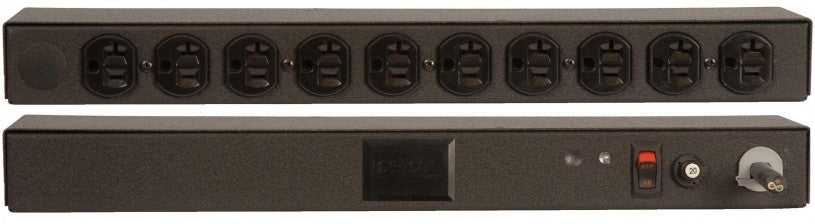 Geist PDU - Basic Non-Surge PDU-20A, 120V, Horizontal, (10) NEMA 5-20R, power switch, breakered, 10 ft power cord with 5-20P,