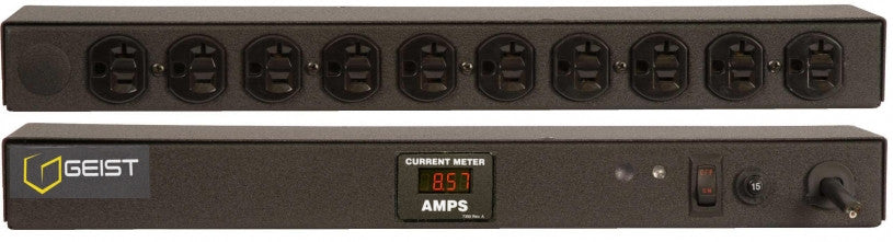 Geist PDU - Basic Non-Surge PDU-20A, 120V, Horizontal, (10) NEMA 5-20R, power switch, breakered, 10 ft power cord with 5-20P, Current - Local Digital RMS Current Meter +/- 2% Accuracy with Full Scale 60Hz sine wave input