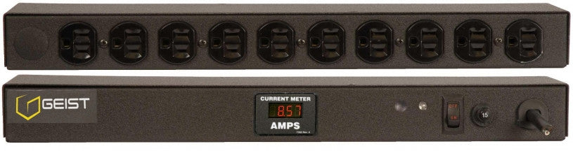 Geist PDU - Basic Non-Surge PDU-15A, 120V, Horizontal, (10) NEMA 5-15R, power switch, breakered, 10 ft power cord with 5-15P, Current - Local  Digital RMS Current Meter +/- 2% Accuracy with Full Scale 60Hz sine wave input.