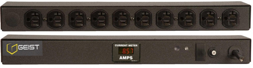 Geist PDU - Basic Non-Surge PDU-0A, 120V, Horizontal, (10) NEMA 5-20R, breakered, 15 ft power cord with 5-20P, Current - Local  Digital RMS Current Meter +/- 2% Accuracy with Full Scale 60Hz sine wave input.